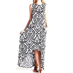 Damask Black Hi-Low Maxi Dress